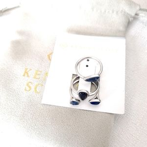 Kendra Scott Ivy Ring Set Stacking NWT Silver Blue
